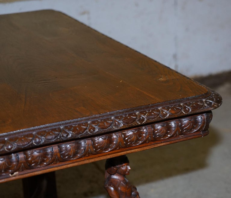Rare circa 1880 French Brittany Hand Carved Chestnut Wood Extending Dining Table For Sale 3