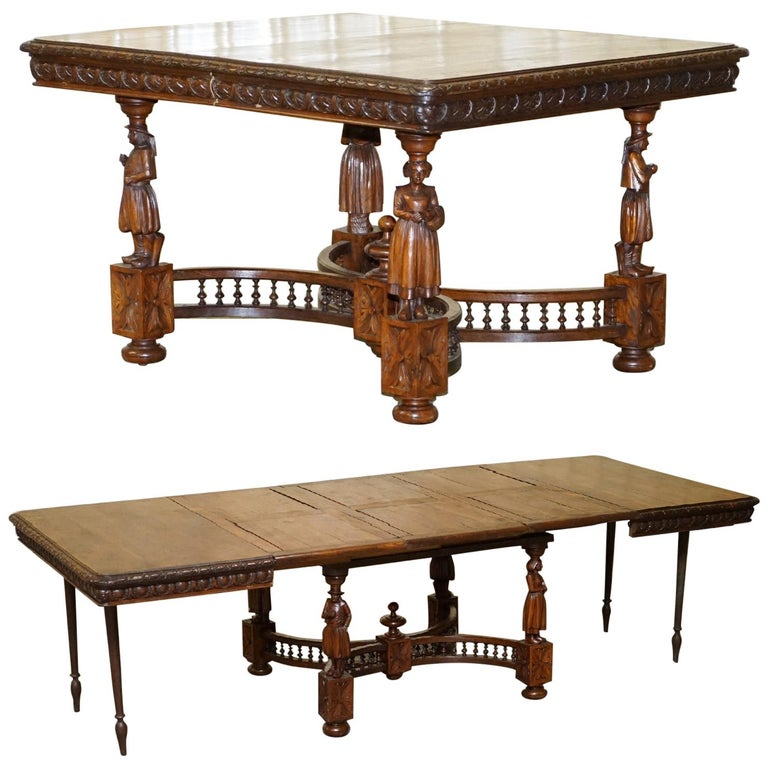 Rare circa 1880 French Brittany Hand Carved Chestnut Wood Extending Dining Table For Sale