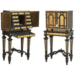Rare Italian Collectors Cabinet on Stand with Inlaid & Ebonised, circa 1900