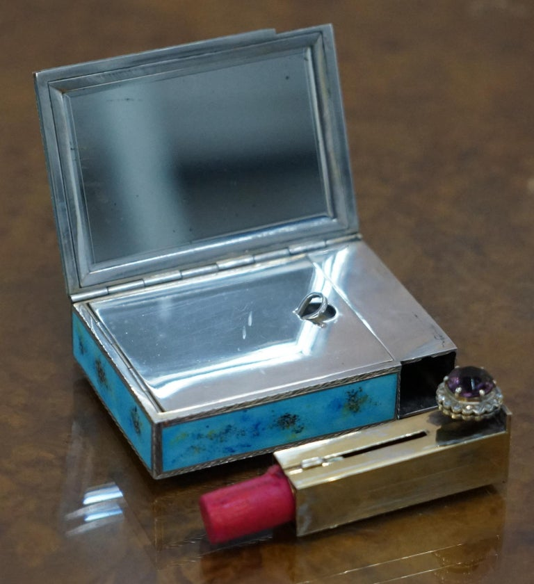 Rare circa 1900 Sterling Silver Diamond & Enamel Powder Compact with Lipstick For Sale 4