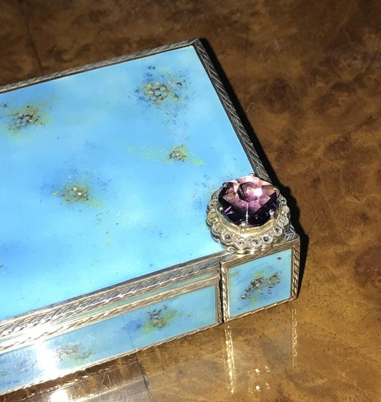 Rare circa 1900 Sterling Silver Diamond & Enamel Powder Compact with Lipstick For Sale 6