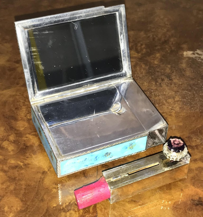Rare circa 1900 Sterling Silver Diamond & Enamel Powder Compact with Lipstick For Sale 8