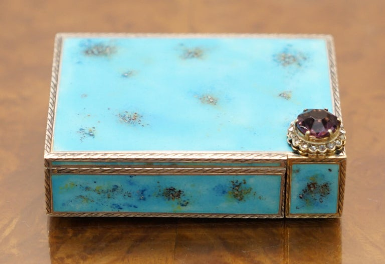 We are delighted to offer this stunning circa 1900 French or Italian Sterling silver Diamond & Enamel powder compact with lipstick  A very good looking and beautifully crafted piece, the diamonds are all real bar one replacement, I can have this