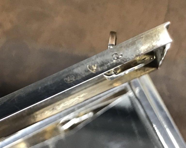 Rare circa 1900 Sterling Silver Diamond & Enamel Powder Compact with Lipstick For Sale 13