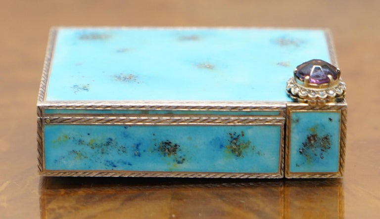 Victorian Rare circa 1900 Sterling Silver Diamond & Enamel Powder Compact with Lipstick For Sale