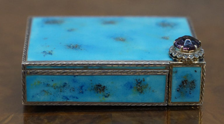 Hand-Crafted Rare circa 1900 Sterling Silver Diamond & Enamel Powder Compact with Lipstick For Sale