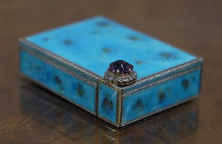 Rare circa 1900 Sterling Silver Diamond & Enamel Powder Compact with Lipstick In Good Condition For Sale In London, GB