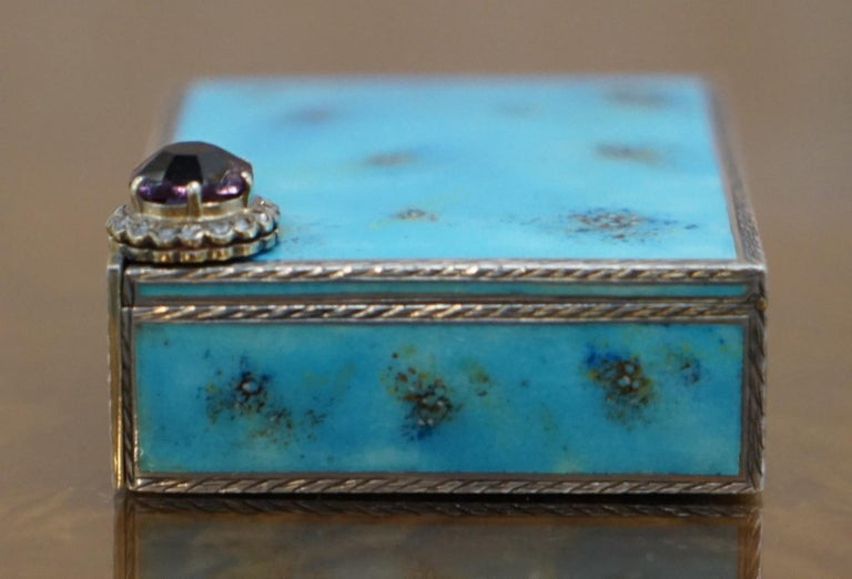 Early 20th Century Rare circa 1900 Sterling Silver Diamond & Enamel Powder Compact with Lipstick For Sale