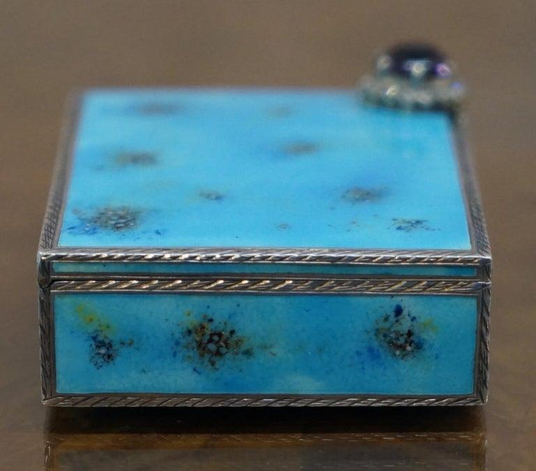 Rare circa 1900 Sterling Silver Diamond & Enamel Powder Compact with Lipstick For Sale 2