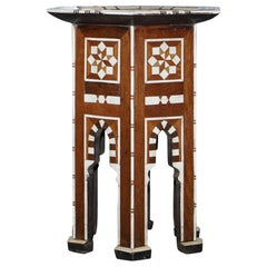 Rare circa 1900 Syrian Bone Inlaid Hexagon Side Table Ideal for Lamps Display