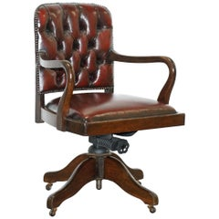 Rare circa 1910 Restored Oxblood Leather Office Captains Chair Solid Oak Frame