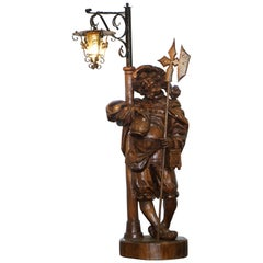 Rare circa 1920 Original Black Forest Hand Carved Wood Watchman Lamp
