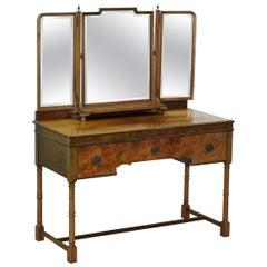 Rare circa 1920 Waring & Gillows Lancaster Burr Walnut Dressing Table Inc Mirror
