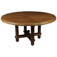 Rare Circular Oak Dining Table by Guillerme et Chambron, France, 1960s