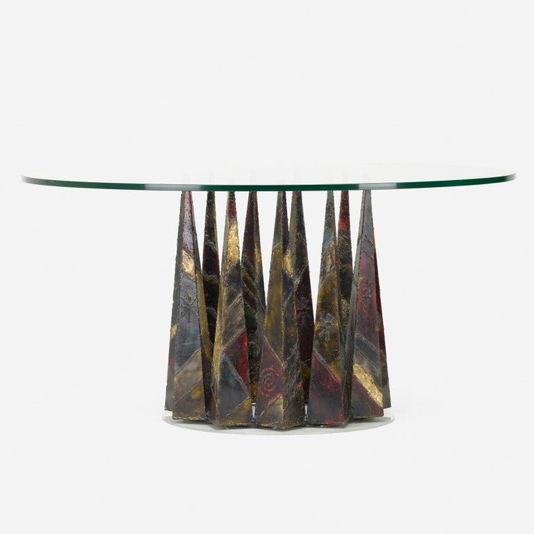 Paul Evans welded and patinated steel dining table for Directional Model PE 46. Signed: