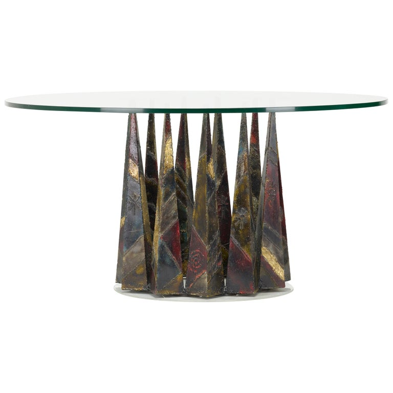 Rare Circular Paul Evans Welded and Patinated Steel Dining Table for Directional For Sale