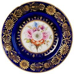Rare Coalport John Rose Plate, Cobalt Blue, Sublime Flowers and Gilt, circa 1800