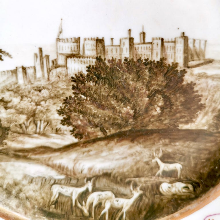George III Coalport Porcelain Plate, Landscape in Sepia, by Thomas Baxter, Georgian ca 1805 For Sale