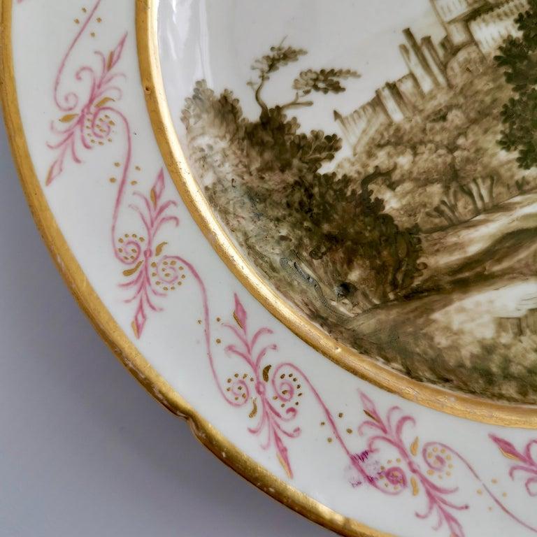 English Coalport Porcelain Plate, Landscape in Sepia, by Thomas Baxter, Georgian ca 1805 For Sale