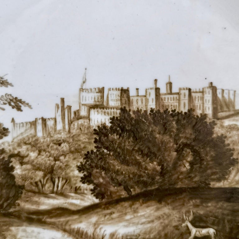 Hand-Painted Coalport Porcelain Plate, Landscape in Sepia, by Thomas Baxter, Georgian ca 1805 For Sale