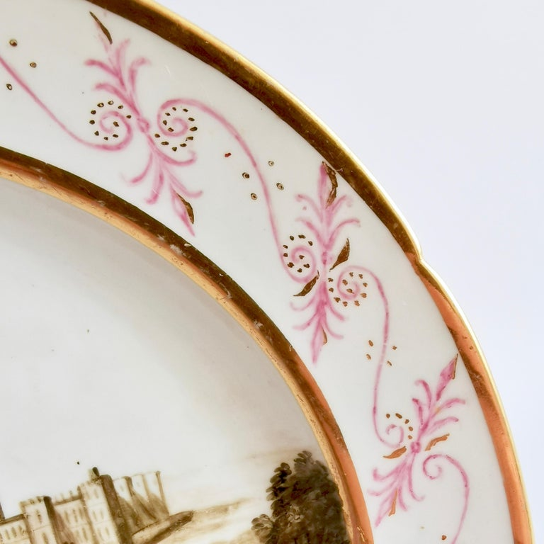 Coalport Porcelain Plate, Landscape in Sepia, by Thomas Baxter, Georgian ca 1805 In Good Condition For Sale In London, GB