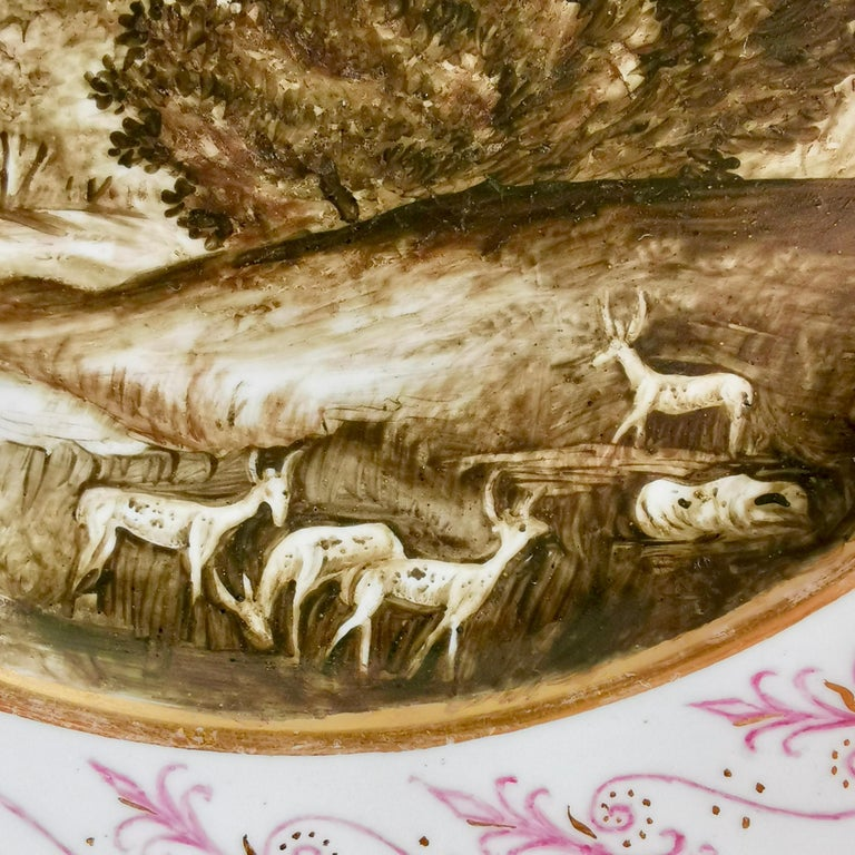 Early 19th Century Coalport Porcelain Plate, Landscape in Sepia, by Thomas Baxter, Georgian ca 1805 For Sale