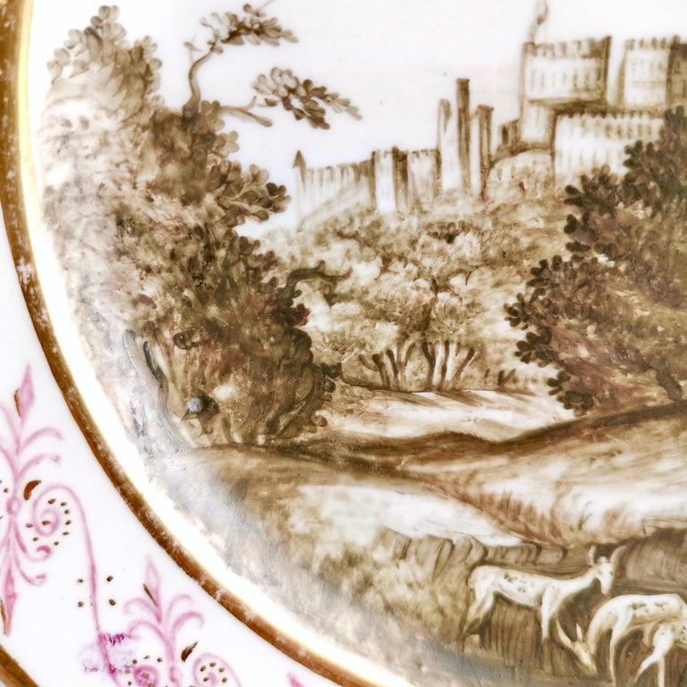 Coalport Porcelain Plate, Landscape in Sepia, by Thomas Baxter, Georgian ca 1805 For Sale 1