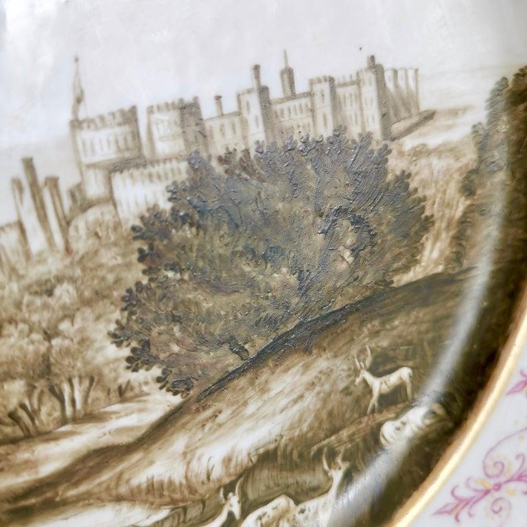 Coalport Porcelain Plate, Landscape in Sepia, by Thomas Baxter, Georgian ca 1805 For Sale 2