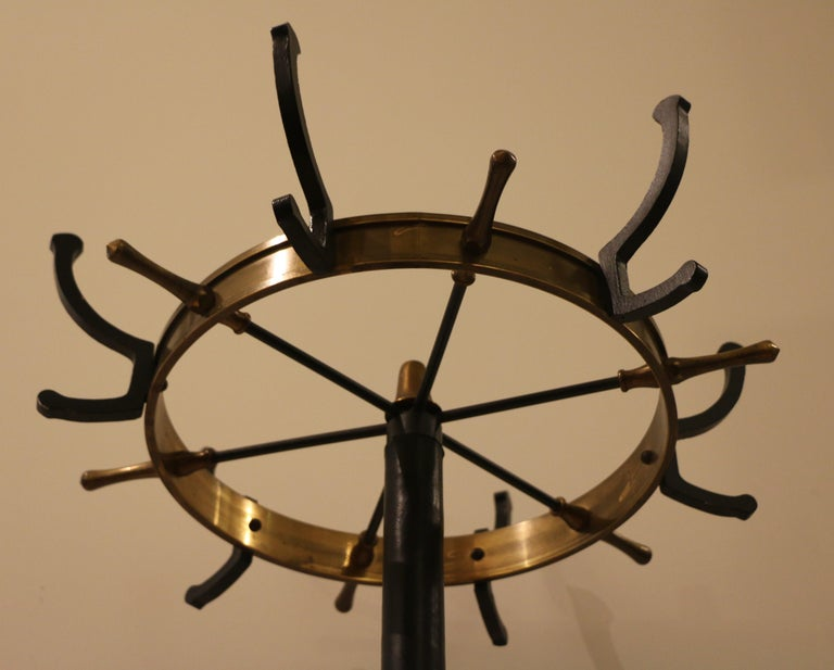 Rare Coat Stand by Jacques Adnet, Stitched Leather, 1950s In Good Condition For Sale In Paris, FR