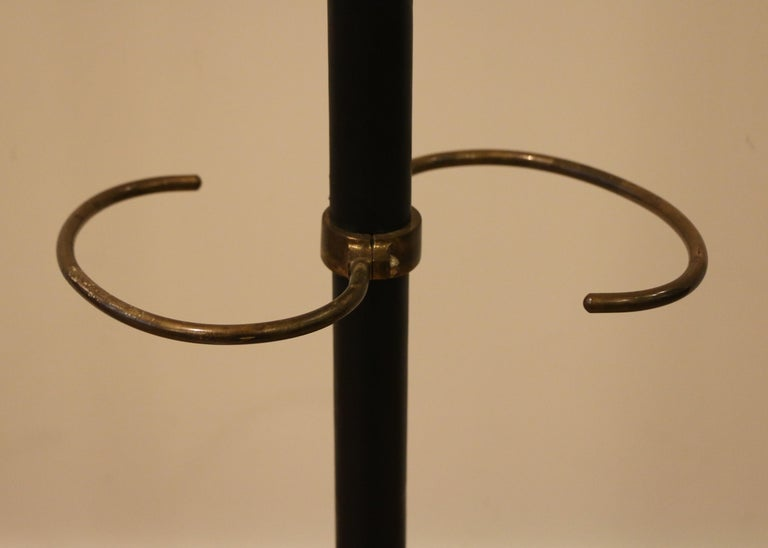 Mid-20th Century Rare Coat Stand by Jacques Adnet, Stitched Leather, 1950s For Sale