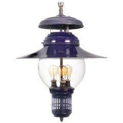 Rare Cobalt Blue 1901 Humphrey Gas Lamp, Electrified
