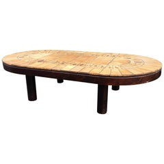 Rare Coffee Table by Roger Capron Oak Base, Terracotta Plate, France Early 1950s