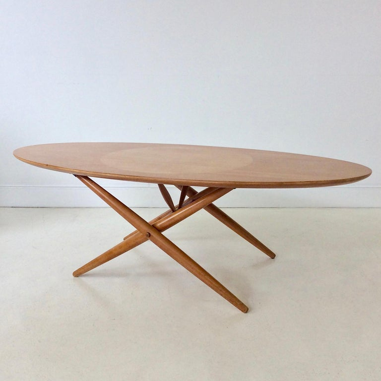 Rare Coffee Table Ovalette Model by Ilmari Tapiovaara, circa 1954, Finland For Sale 3