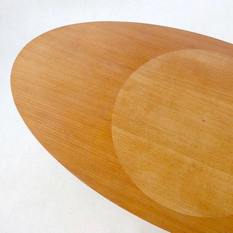 Beech Rare Coffee Table Ovalette Model by Ilmari Tapiovaara, circa 1954, Finland For Sale