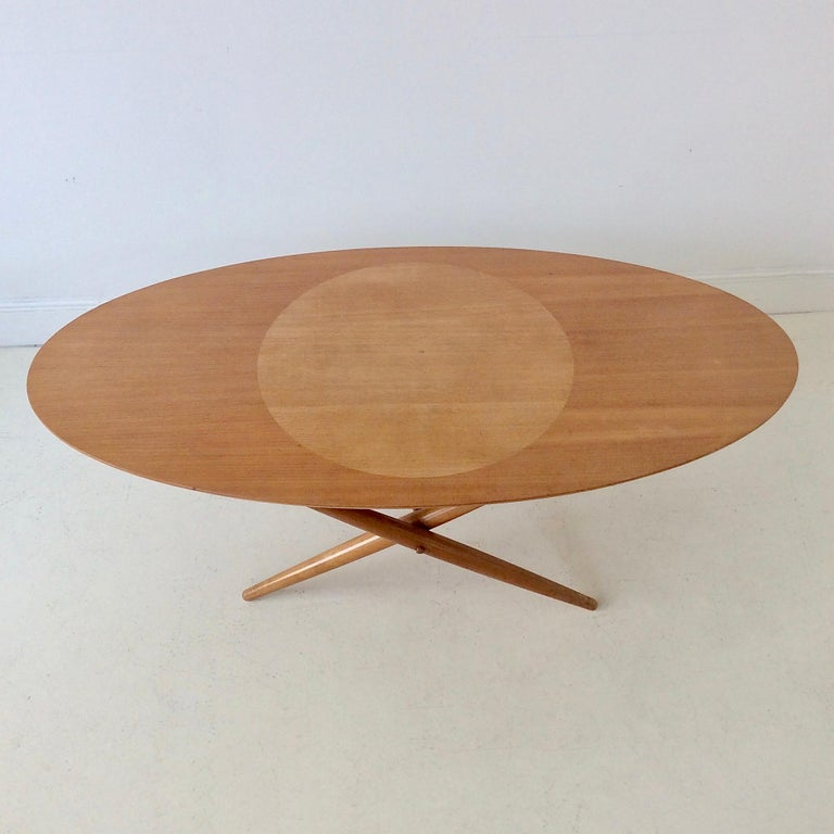 Rare Coffee Table Ovalette Model by Ilmari Tapiovaara, circa 1954, Finland For Sale 1