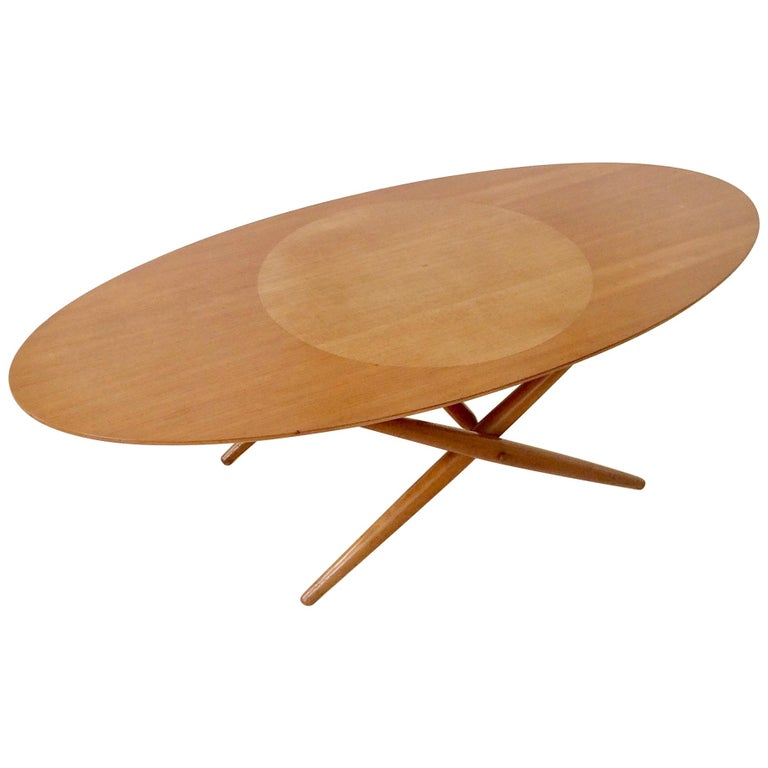 Rare Coffee Table Ovalette Model by Ilmari Tapiovaara, circa 1954, Finland For Sale