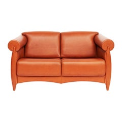 Rare Cognac Colored Leather Sofa by Klaus Wettergren