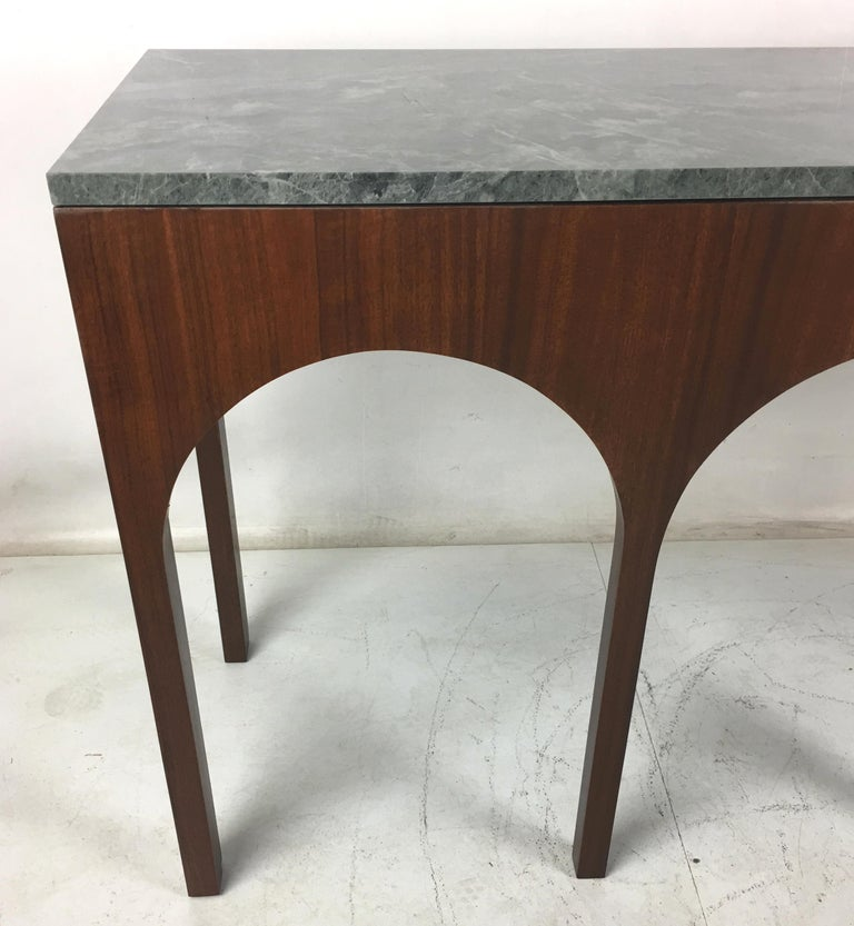 Rare Coliseum Console with Marble Top by T.H. Robsjohn-Gibbings In Excellent Condition For Sale In San Leandro, CA