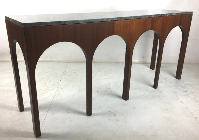 Mid-20th Century Rare Coliseum Console with Marble Top by T.H. Robsjohn-Gibbings For Sale