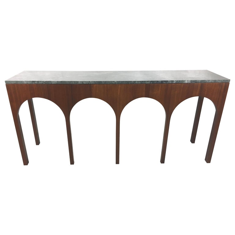 Rare Coliseum Console with Marble Top by T.H. Robsjohn-Gibbings For Sale