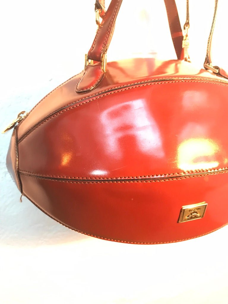 Hand-Crafted Rare Collectable Vintage Moschino Football Hand Bag For Sale