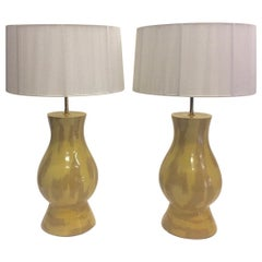 Rare Collectible Pair of Karl Springer Mustard and Khaki Ceramic Lamps