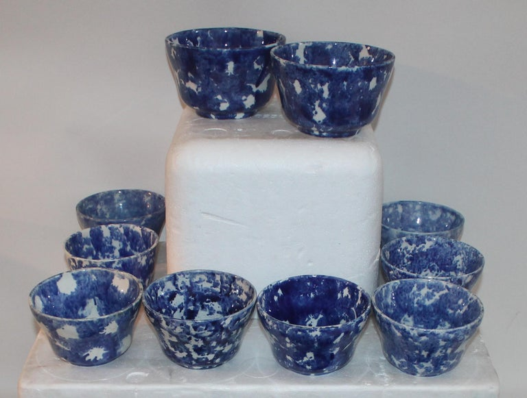 Country Rare Collection of 20 Sponge Ware Waste Bowls For Sale