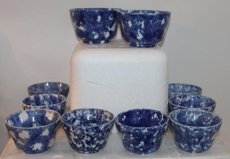 American Rare Collection of 20 Sponge Ware Waste Bowls For Sale
