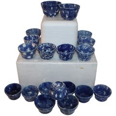 Rare Collection of 20 Sponge Ware Waste Bowls