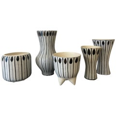 Rare Collection of 5 Roger Capron Vases, Vallauris, 1960's