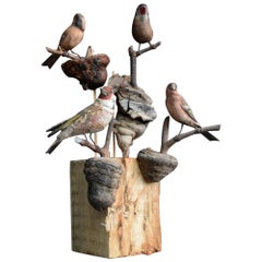 Rare Collection of Four 19th Century German Folk Art Carved Birds