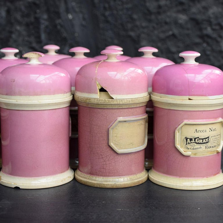 Rare Collection of Puce Pink Ground Porcelain Apothecary Jars, circa 1880 5