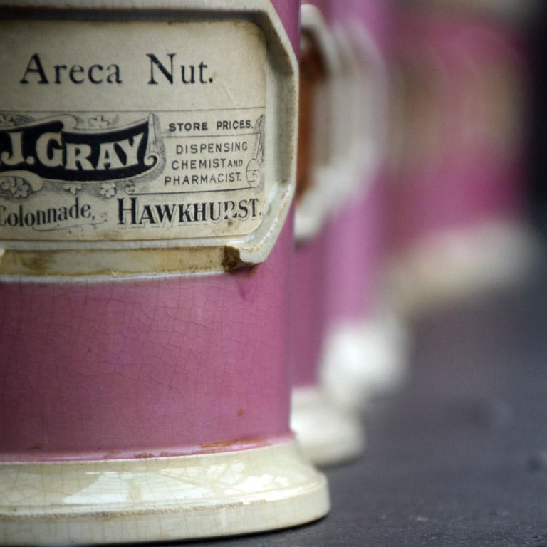 Victorian Rare Collection of Puce Pink Ground Porcelain Apothecary Jars, circa 1880