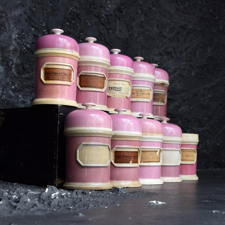 Hand-Crafted Rare Collection of Puce Pink Ground Porcelain Apothecary Jars, circa 1880